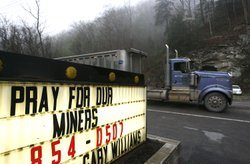 A truck drives down the road near the Upper Big Branch Mine on April 6, 2010 ...