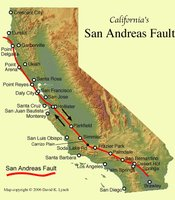 The San Andreas Fault is the sliding boundary between the Pacific Plate and the North American Plate. It slices California in two from Cape Mendocino to the Mexican border. San Diego, Los Angeles and Big Sur are on the Pacific Plate. San Francisco, Sacramento and the Sierra Nevada are on the North American Plate.