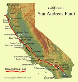 The San Andreas Fault is the sliding boundary between the Pacific Plate and t...
