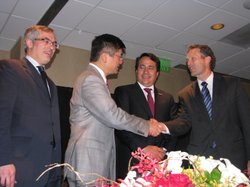 Canada's Minister of Industry, Tony Clement, U.S. Commerce Secretary Gary Locke, Mexico's Secretary of the Economy, Gerardo Ruiz, and Ruben Barrales, President of San Diego's Chamber of Commerce meet in San Diego to discuss the global marketplace on April 14, 2010.