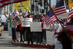 Demonstrators gather at an American Family Association (AFA)-sponsored T.E.A....