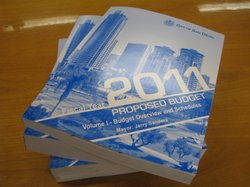 The revised budget for the 2011 fiscal year is contained in three volumes. Mayor Jerry Sander released the budget on April 15, 2010.