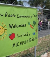 The New Roots Community Farm in City Heights welcomed First Lady Michelle Obama on April 15, 2010. Her visit was part of her health campaign to end childhood obesity.