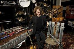 Jazz guitarist Pat Metheny surrounded by his Orchestrion project.