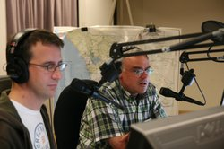 KPBS Radio's Program Director, John Decker with former KPBS editor, Scott Horsley during the October 2003 wildfires.