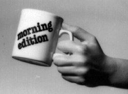 """Early pledge premiums, like the """"Morning Edition"""" mug, enticed listeners to support KPBS while promoting signature public radio programs."""