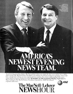 Ad promoting the debut of the MacNeil/Lehrer Newshour in 1983.