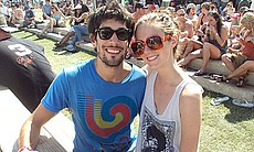 A cutie-pie hipster couple at Coachella.