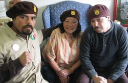 David Rico Jr. (left), Irene Mena (center) and David Rico (right) are members of the Brown Berets de Aztlan.