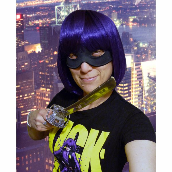 "Okay here's how I look in my purple wig. My friends and I wore wigs and masks to a screening of ""Kick-Ass."""