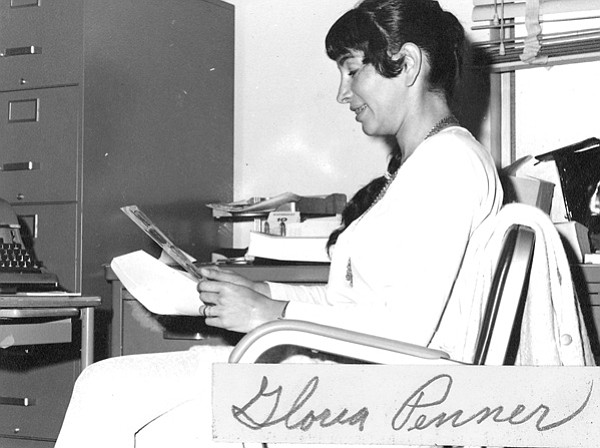 "Gloria Penner - perhaps in her ""kitchen"" office in 1970."