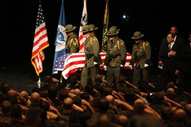Memorial Services take place for Border Patrol Agent Robert Rosas, the victim of the first fatal shooting of a U.S. Border Patrol agent in more than a decade, on July 31, 2009 in El Centro, California.