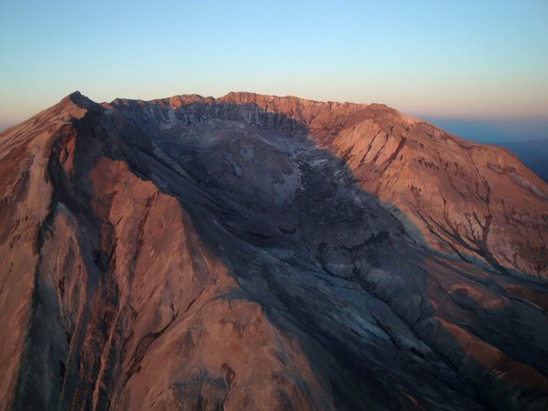 Aerial view of Mt. St. Helens dome.