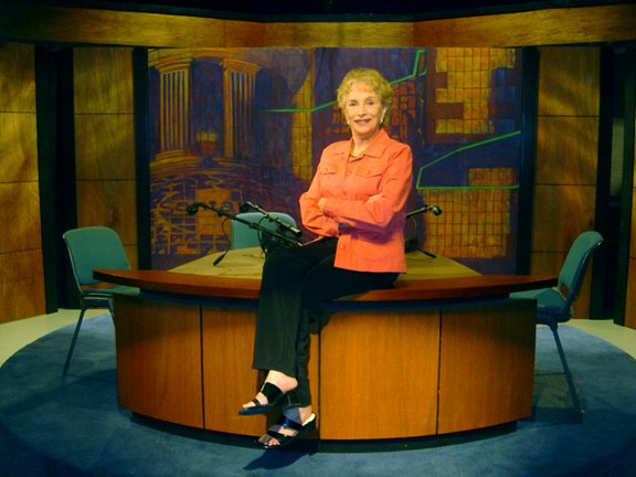 "Gloria Penner on set of ""Editors at the Roundtable."""