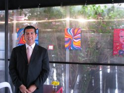 David Alvarez stands in the Latte Mi Corazon coffee shop in Sherman Heights.