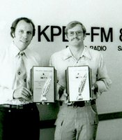 During his stint at KPBS, Ken Kramer won several awards for his work in journalism, including this one in 1978 from the San Diego Press Club.  Pictured with Ken is Ed Bremer.