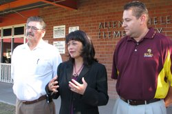 Calexico Unified School Superintendent Dr. Christina Luna (center) and other ...
