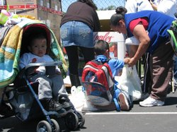 San Diego Food Bank offered free food to families who enrolled in the food stamp program at Rodriguez Elementary School on Wednesday May 12, 2010.