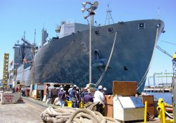 NASSCO shipyard in San Diego is building 14 T-AKE replenishment ships for the...