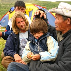 Rupert Isaacson, Rowan Isaacson and Ghoste in Mongolia.