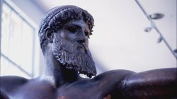 A statue of Poseidon, god of the sea and of earthquakes in Greek mythology.
