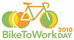 Logo for Bike to Work Day, occurring on Friday, May 21, 2010.