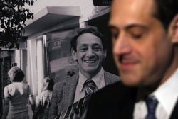 Stuart Milk, the nephew of the late gay activist Harvey Milk, sits next to a ...