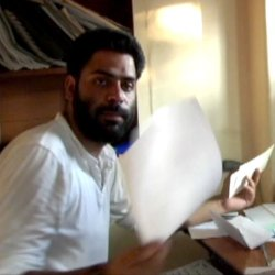 Human rights activist Khurram Parvez at his office in Kashmir.
