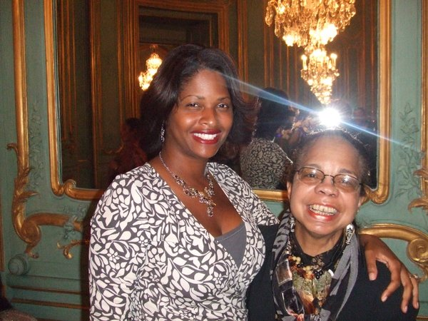 A beatific, beaming Bennetta Jules-Rosette (beaming with partial assistance from the flash on my camera) and T. Denean Sharpley-Whiting at the pre-opening reception of the Black France Film Festival in the palatial compound of the U.S Embassy in Paris.