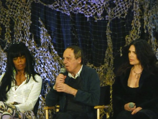 "Dario Argento  flanked by Geretta Geretta of the film ""Demons"" that Argento produced, and Barbara Magnolfi of ""Suspiria."""