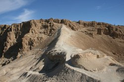 The siege ramp at the mountain fortress of Masada, Israel.