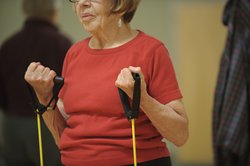 An elderly woman exercises at Oregon State University's Center for Healthy Ag...
