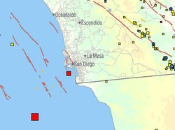 This map from USGS shows the location and size of two moderate earthquakes th...