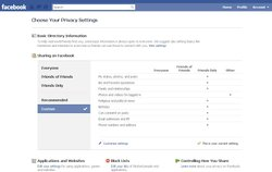 Screen shot for choosing your privacy settings on Facebook.
