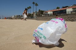 The wind blows a plastic bag around the beach near the Manhattan Beach Pier A...