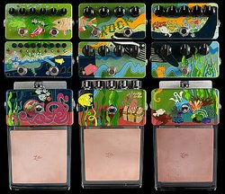 Artist Hannah Haugberg's painted stompboxes, on view at the Museum of Making Music.