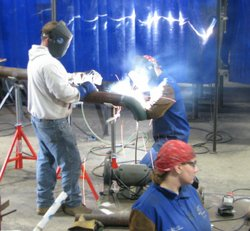 Members of the Veterans in Piping program at Plumbers and Pipefitters Local 230 practice their welding skills.