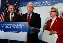 Sen. Tom Harkin (D-IA), Sen. Christopher Dodd (D-CT) and former Congresswoman Barbara Kennelly (D-CT), President & CEO of the National Committee to Preserve Social Security and Medicare, participate in a news conference on Capitol Hill on December 2, 2009 in Washington, DC.