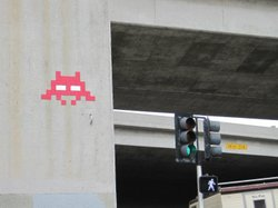 Another work by Invader in downtown San Diego, at State and Grape Streets in ...