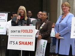 Councilwoman Donna Frye and Marti Emerald speak out against the