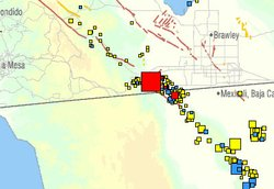 USGS map shows the location of a large earthquake that struck near Ocotillo a...