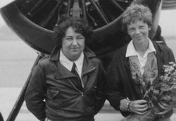 Pancho Barnes appears with fellow aviatrix Amelia Earhart in 1929 at Clover F...