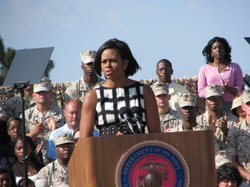 First Lady Michelle Obama speaks to Marines and their families at Camp Pendle...
