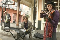 """Treme's"" Annie and Sonny, played by Lucia Micarelli and Michiel Huisman."