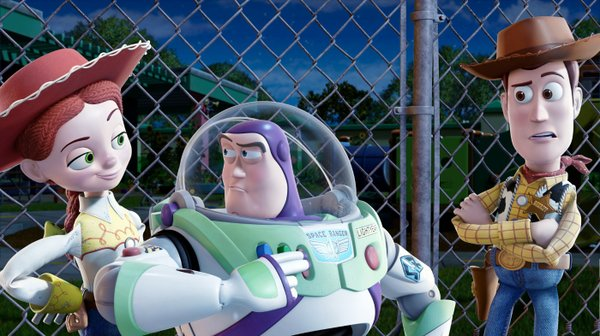 "Jessie (Joan Cusack), Buzz (Tim Allen) and Woody (Tom Hanks) reunite for ""Toy Story 3."""