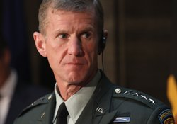 General Stanley A. McChrystal, Commander, U.S. Forces Afghanistan looks on during a press conference at Bendlerblock on April 21, 2010 in Berlin, Germany.
