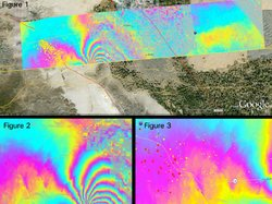 Figure 1. Overview of the UAVSAR interferogram of the magnitude 7.2 Baja California earthquake of April 4, 2010, overlaid atop a Google Earth image of the region. Major fault systems are shown by red lines, while recent aftershocks are denoted by yellow, orange and red dots. Image credit: NASA/JPL/USGS/Google