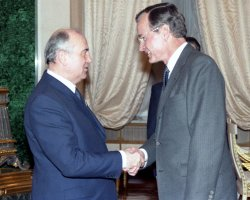 Vice President George H. W. Bush was the first American to meet the new General Secretary of the Soviet Union, Mikhail Gorbachev.