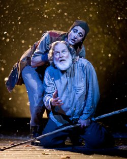 "Robert Foxworth as King Lear and Bruce Turk as the Fool in the Old Globe's production of ""King Lear."""