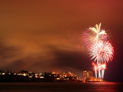 Fourth of July fireworks light up the sky over La Jolla Cove.